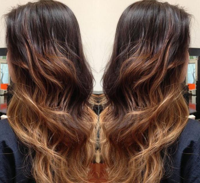 Балаяж на темные волосы длинные волосы фото