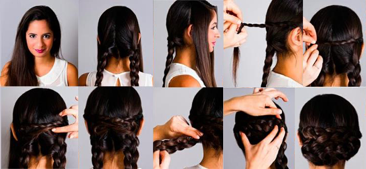 Прически своими руками на средние волосы фото с плетением