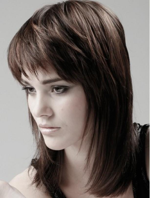 Прическа каскад на длинные волосы с чёлкой фото
