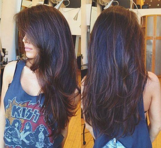 Стрижка лесенка на длинные волосы вид сзади