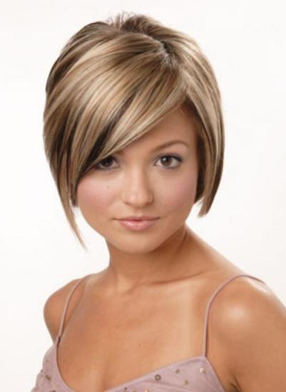 Стрижка с мелированием на средние волосы