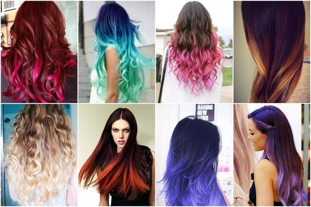 Покрасить концы волос в другой цвет