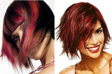 черные волосы с мелированием красным