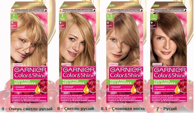 Краска для волос гарнер палитра цветов на волосах