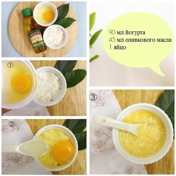 Йогурт, оливковое масло и яйцо