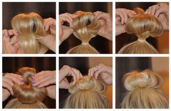 Прически при помощи бублика на средние волосы