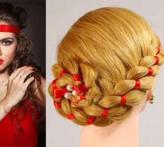Нарядная прическа для длинных волос на Новый год