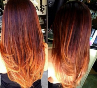 Фото омбре на длинные рыжие волосы