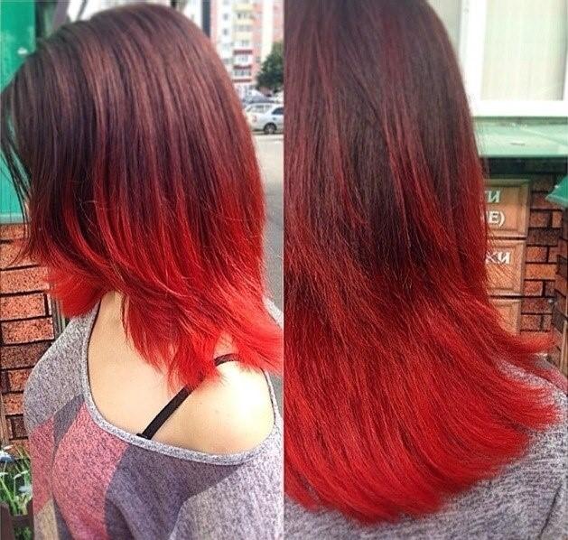 Омбре на красные волосы