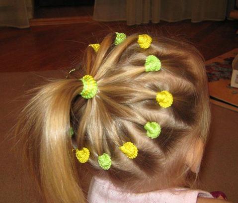 Прически на длинные волосы из резинок для девочек