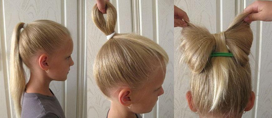 Как сделать ребёнку бант из волос