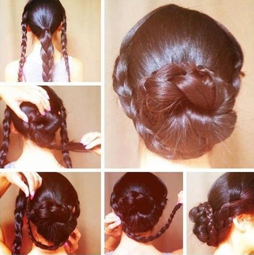 Плетение пучка с косами