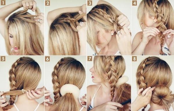 Коса и бублик для волос