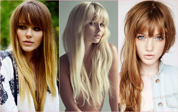 Модные челки для длинных волос