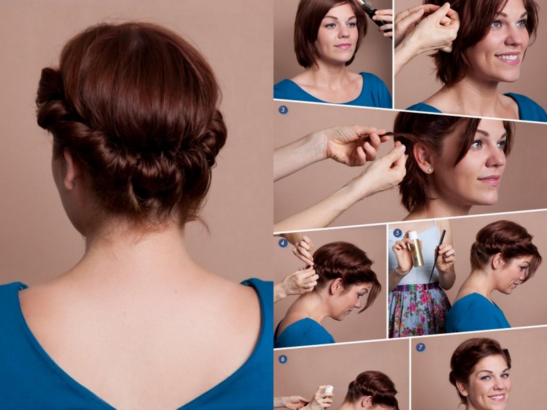 Прическа для коротких волос в домашних условиях поэтапно