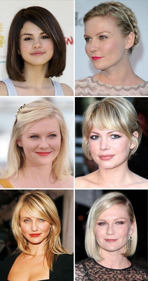 Прически на средние волосы для круглого лица для полных