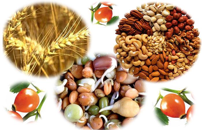 Продукты с содержанием витамина Е