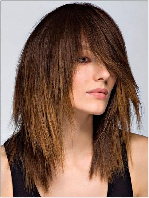 Рваный каскад на средние волосы