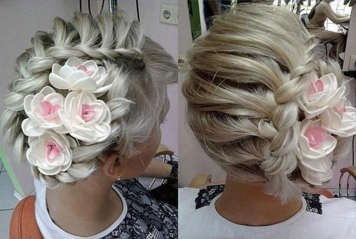 Прическа с косой и цветами