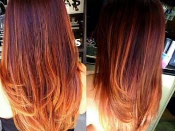 Яркое окрашивание омбре на рыжие волосы