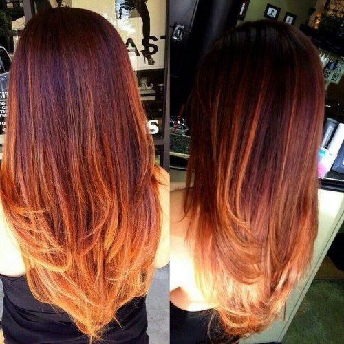 Техника осветления на рыжие волосы