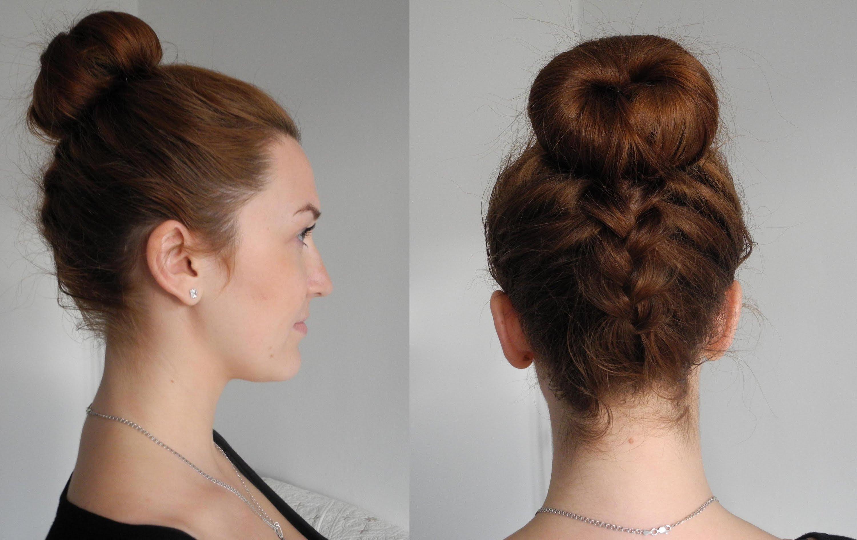 Собранные волосы без челки