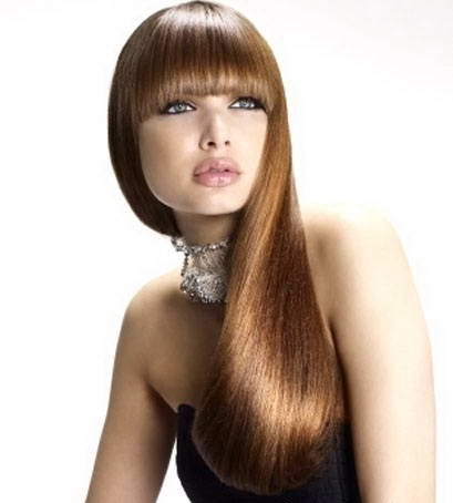 Длинные ровные волосы с челкой