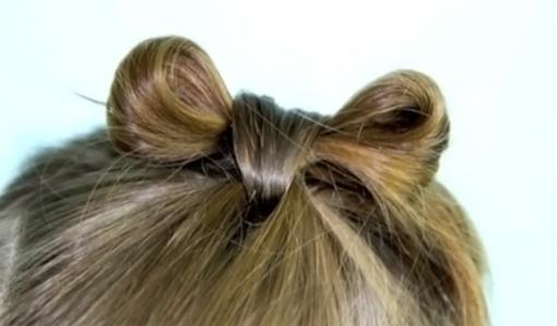 Прическа с бантиком из волос